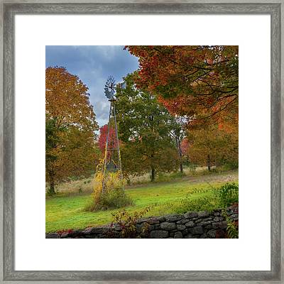 Framed Print featuring the photograph Autumn Windmill Square by Bill Wakeley