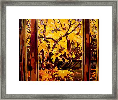 Framed Print featuring the painting Autumn Window by Tim  Heimdal