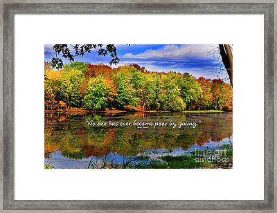 Framed Print featuring the photograph Autumn Wonders Giving by Diane E Berry