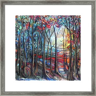 Autumn Woods Sunrise Framed Print