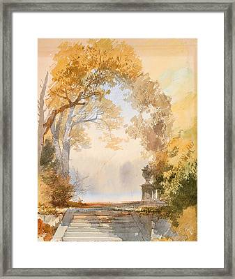 Autumnal Park With A Staircase Framed Print