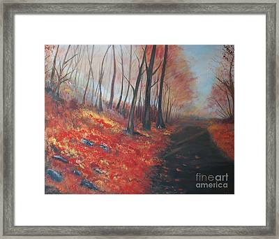 Framed Print featuring the painting Autumns Pathway by Leslie Allen