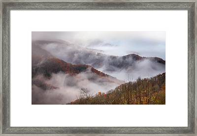 Autumn's Smokey Mountain Mist Framed Print by Karen Wiles