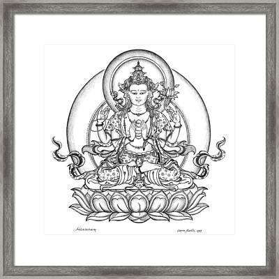 Avalokiteshvara -chenrezig Framed Print by Carmen Mensink