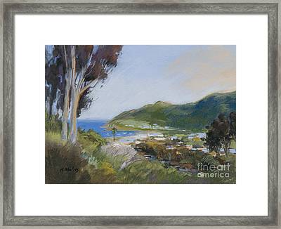 Avalon Harbor - Taking The High Road Catalina Island Oil Painting Framed Print by Karen Winters