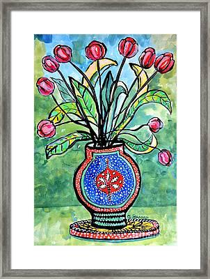 Avant Garde Vase With Tulips Framed Print