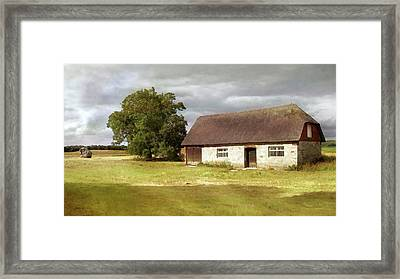 Avebury Cottage Tree And Standing Stone Framed Print