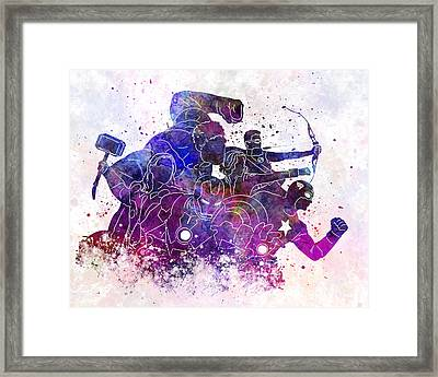 Avengers 01 In Watercolor Framed Print by Pablo Romero