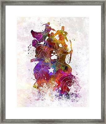 Avengers 02 In Watercolor Framed Print