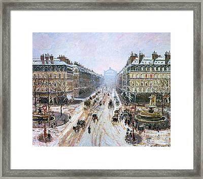 Avenue De L'opera - Effect Of Snow Framed Print by Camille Pissarro