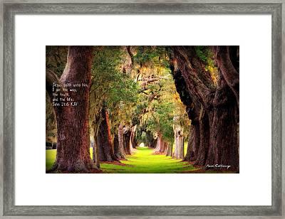 Avenue Of Oaks 2 I Am The Way Framed Print by Reid Callaway
