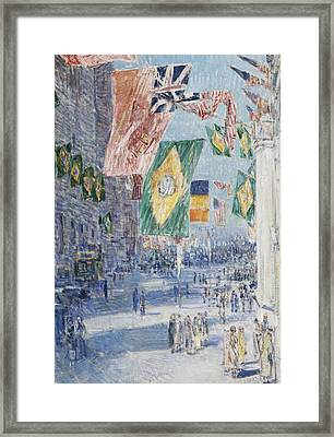 Avenue Of The Allies  Brazil  Belgium Framed Print by Childe Hassam