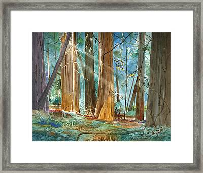Framed Print featuring the painting Avenue Of The Giants by John Norman Stewart