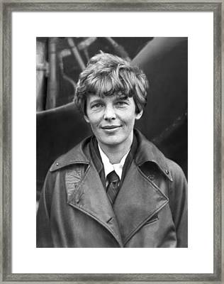 Aviatrix Amelia Earhart Putnam Framed Print by Underwood Archives