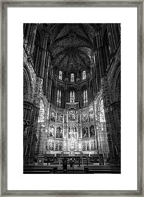 Avila Cathedral Bw Framed Print by Joan Carroll