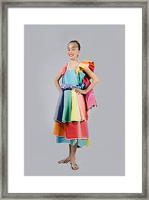 Aviva In Patio Umbrella Dress Framed Print