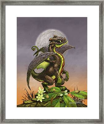 Framed Print featuring the digital art Avocado Dragon by Stanley Morrison