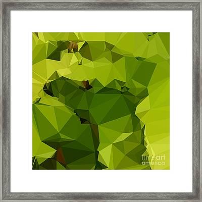 Avocado Green Abstract Low Polygon Background Framed Print by Aloysius Patrimonio