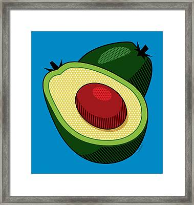 Avocado On Blue Framed Print by Ron Magnes