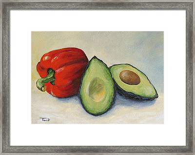 Avocado With Bell Pepper Framed Print