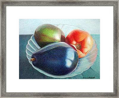 Avocados And A Tomato Framed Print by Bonnie Haversat