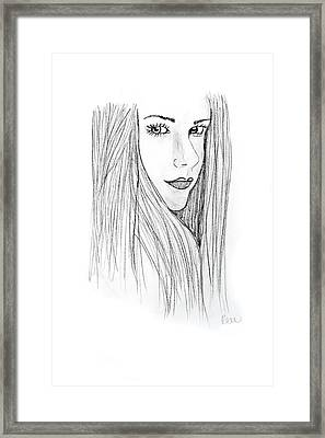Framed Print featuring the drawing Avril by Rebecca Wood