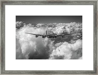 Framed Print featuring the photograph Avro Lancaster Above Clouds Bw Version by Gary Eason