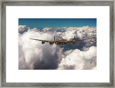 Framed Print featuring the photograph Avro Lancaster Above Clouds by Gary Eason