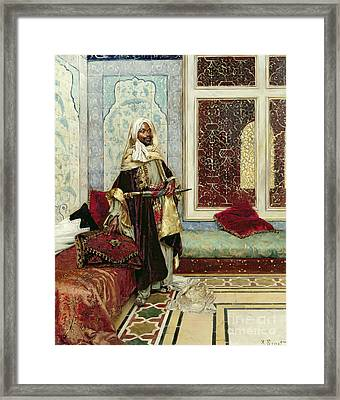 Awaiting An Audience Framed Print by Rudolphe Ernst