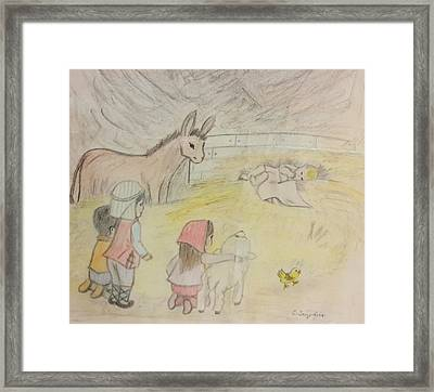 Away In A Manger With Child Shepherds Framed Print by Christy Saunders Church