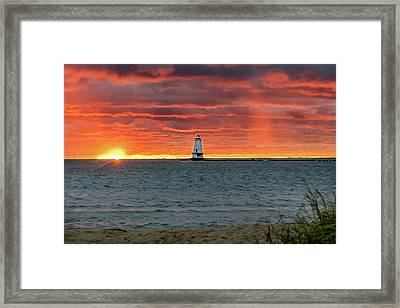 Awesome Sunset With Lighthouse  Framed Print