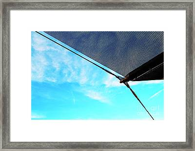 Awning Above A Wharf In Marseille Framed Print by Sami Sarkis