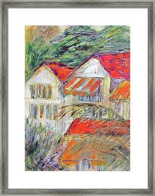 Awnings Framed Print by Lily Hymen