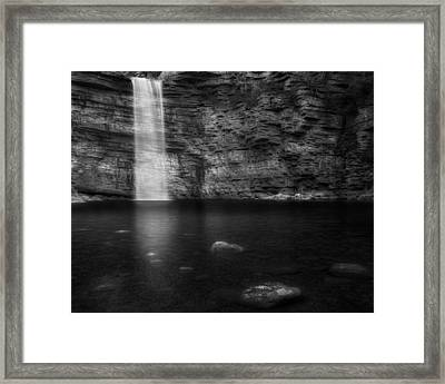 Awosting Falls Black And White Framed Print by Bill Wakeley