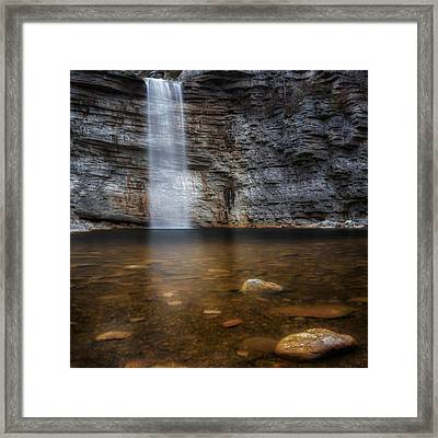 Awosting Falls Square Framed Print by Bill Wakeley