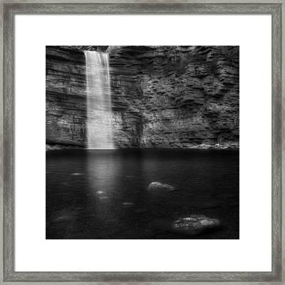Awosting Falls Square Black And White Framed Print