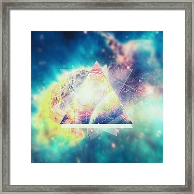 Awsome Collosal Deep Space Triangle Art Sign Framed Print by Philipp Rietz