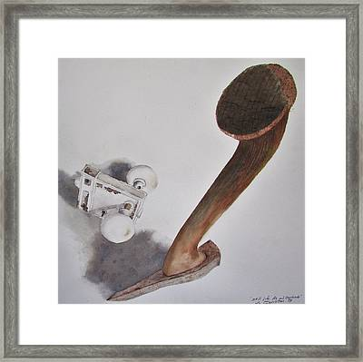 Axe And Doorknob Framed Print by Tony Caviston