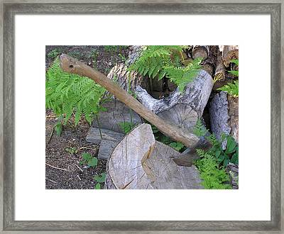 Axe In Log Framed Print by Richard Mitchell