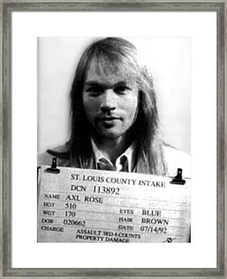 Axl Rose Mug Shot 1992 Front Photo Framed Print