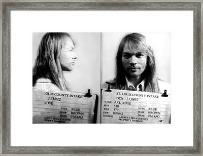 Axl Rose Mug Shot 1992 Horizontal Photo Framed Print