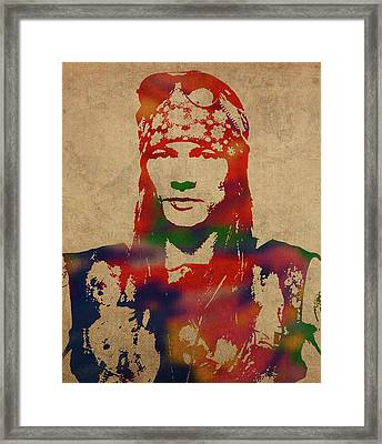 Axl Rose Watercolor Portrait Acdc Framed Print