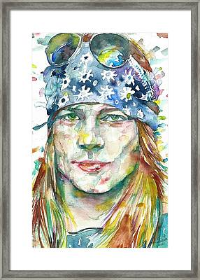 Axl Rose - Watercolor Portrait Framed Print