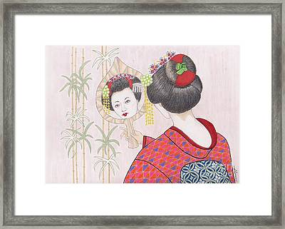 Ayano -- Portrait Of Japanese Geisha Girl Framed Print