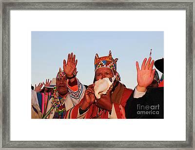 Aymara Shaman Portrait Bolivia Framed Print by James Brunker