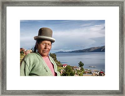 Aymara Women With Traditional Hat Framed Print