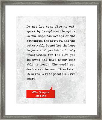 Ayn Rand Quotes - Atlas Shrugged Quotes - Literary Quotes - Book Lover Gifts - Typewriter Quotes Framed Print