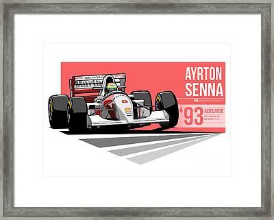 Ayrton Senna - 1993 Adelaide Framed Print by Evan DeCiren