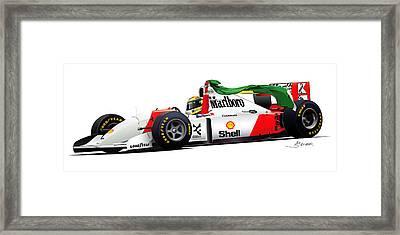 Ayrton Senna Illustration Framed Print by Alain Jamar