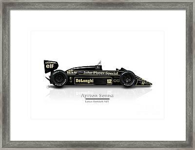 Ayrton Senna - Lotus Renault 98t Framed Print by Jeremy Owen